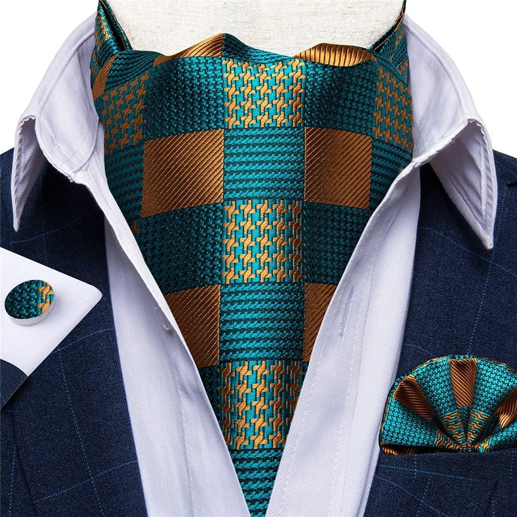 JJZXC Men's Silk Vintage Teal Green Gold Check Cravat Wedding Formal Scrunch British Necktie Pocket Square Cufflinks Set (Color : A, Size : One Size)