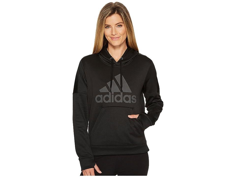 adidas Team Issue Fleece Pullover Logo Hoodie (Black Melange/Black Melange/Black) Women