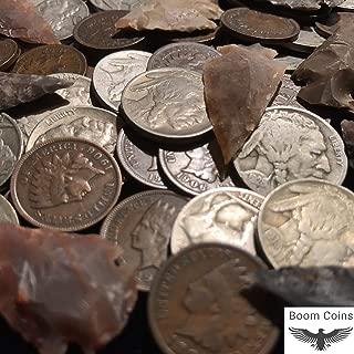 Native American Coin Artifact Lot ✯ Indian Head Cent Buffalo Nickel Arrowhead