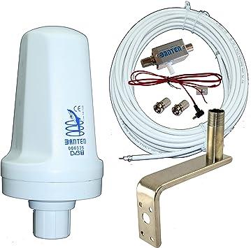 Banten Pack de Antena TDT 00335 Omnidireccional con Montaje en L 12 cm Acero Inoxidable