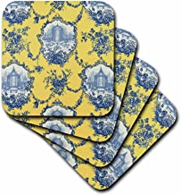 3dRose CST_218087_3 Garden French Toile Yellow and Blue Popular Toile Print Ceramic Tile Coasters (Set of 4)