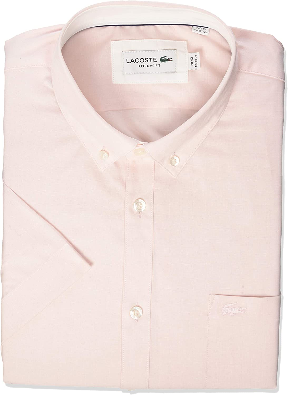 Lacoste Men's Short Sleeve Button Down Sh City Ranking TOP6 Washington Mall Fit Woven Regular