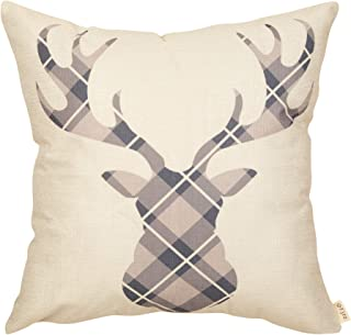Fjfz Christmas Farmhouse Decorative Throw Pillow Cover Buffalo Plaid Deer Antler White Christmas Sign Winter Holiday Decoration Rustic Home Décor Cotton Linen Cushion Case for Sofa Couch, 18