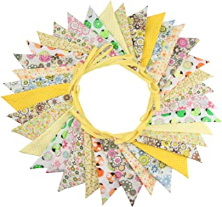 INFEI 10M/32Ft 36 Floral Fabric Triangle Flags Bunting Banner Garlands for Wedding, Birthday Party, Outdoor & Home Decoration (Yellow)