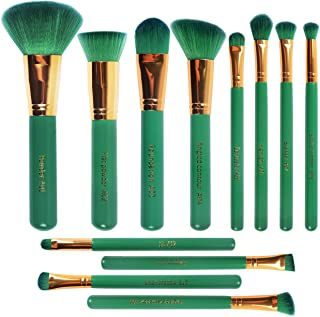 FERRISA Makeup Brush, Professional Makeup Brushes, Premium Synthetic Foundation Blending Blush Face Eyeliner Shadow Brow Concealer Lip Brush Beauty Tool (12Pcs Green)
