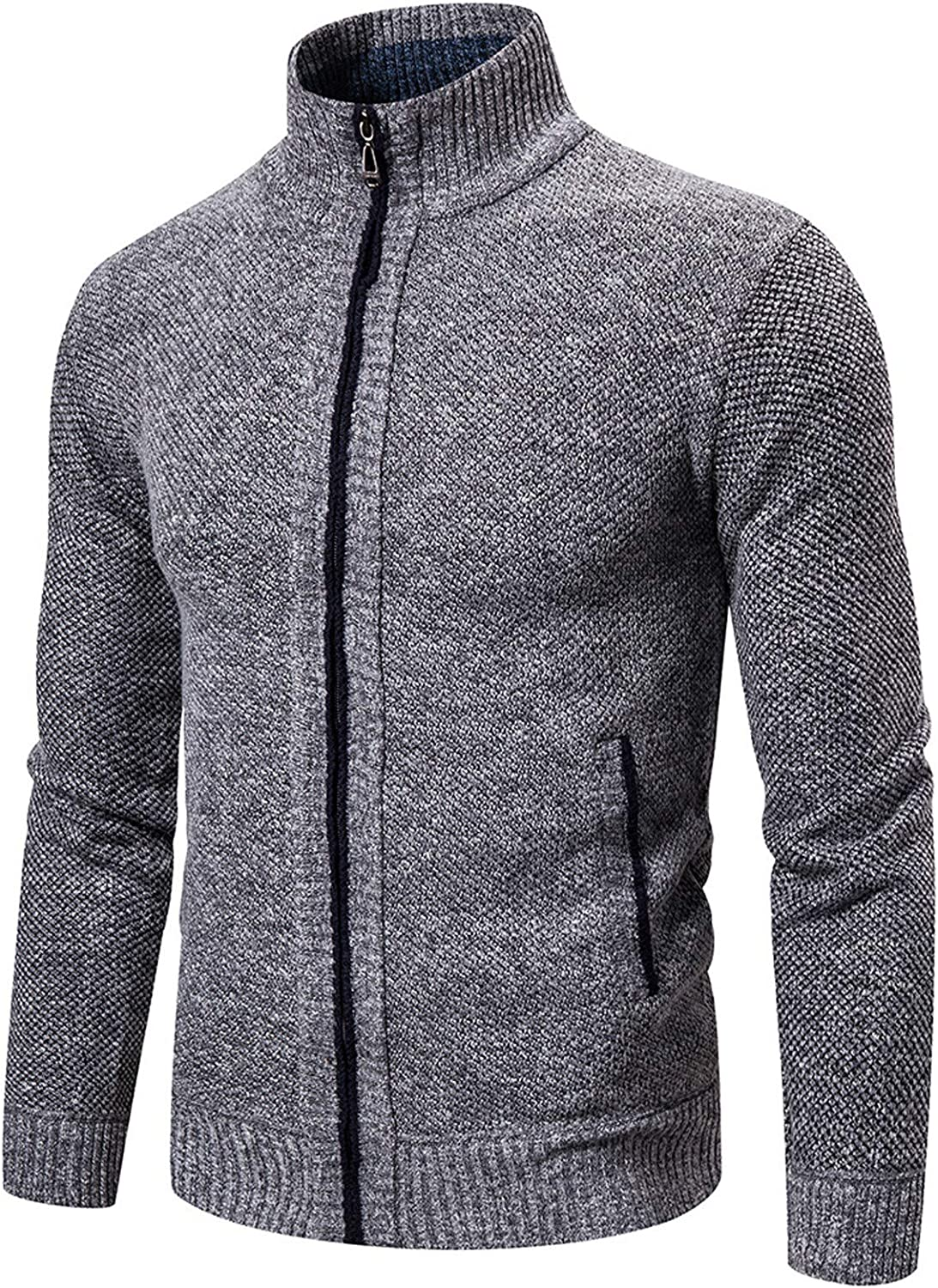 Mens Cardigan Sweater Long Sleeve Stand Collar Cardigans Jacket Full Zip Cable Knitted Cardigan Sweater Coat