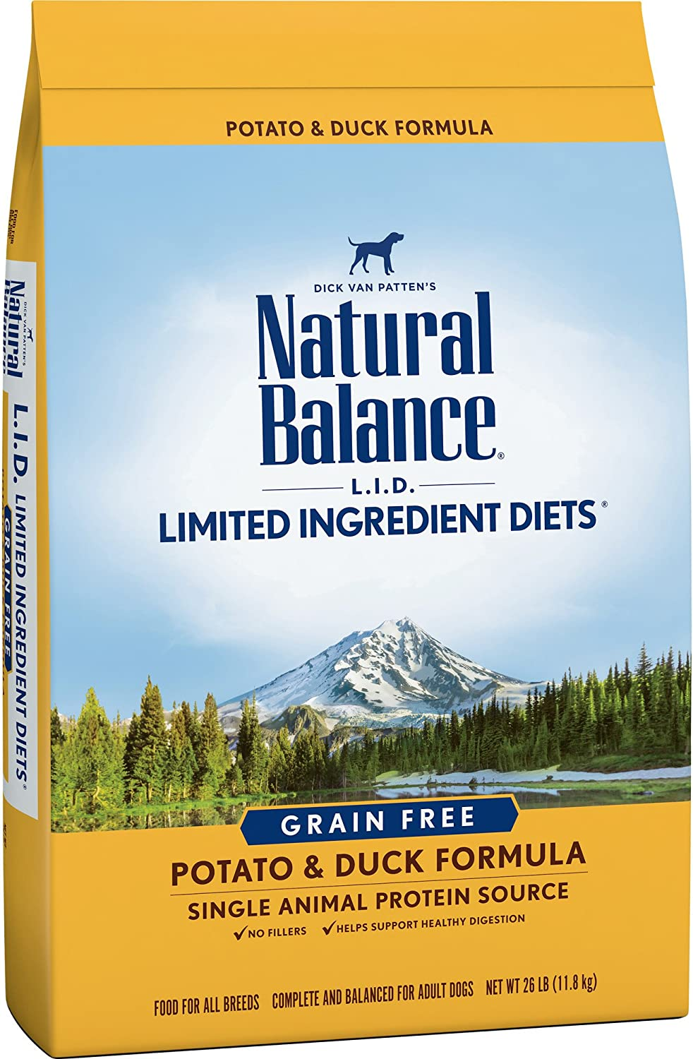 Natural Balance L.I.D. Limited Ingredient Diets Dry Dog Food, Grain Free, Potato & Duck Formula, 26Pound