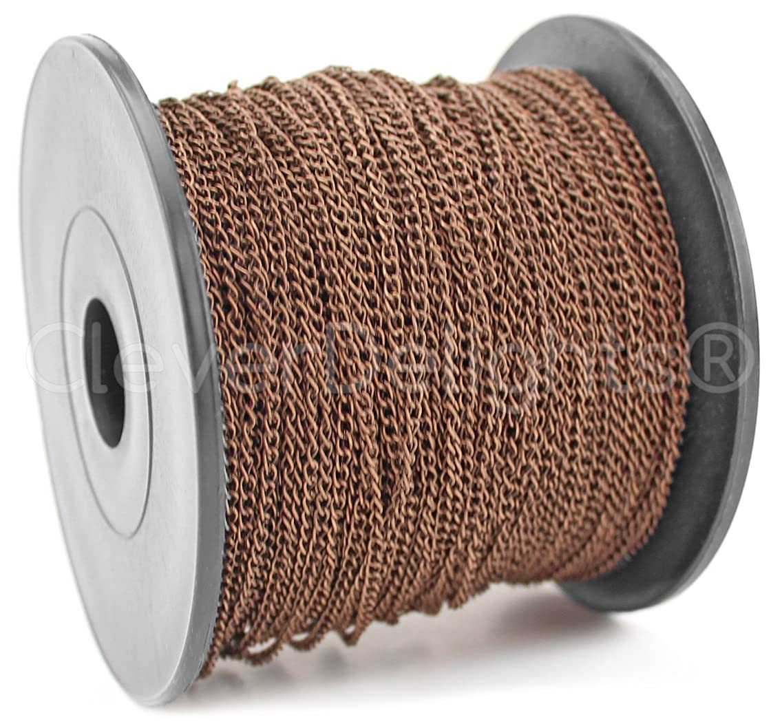 CleverDelights Curb Chain Spool - 2x3mm Link - Antique Copper Color - 330 Feet - Bulk Jewelry Chain Roll