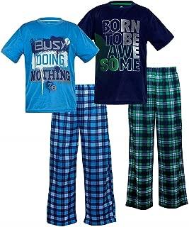 Boys Sleep On It Sleepwear 4-Piece Long Sleeve Jersey & Fleece Pajama Pant Set