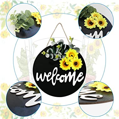 Welcome Sign Front Door Round Wood Sign Hanging Welcome Sign for Farmhouse Porch Spring Door Wreaths for Front Door Outside D