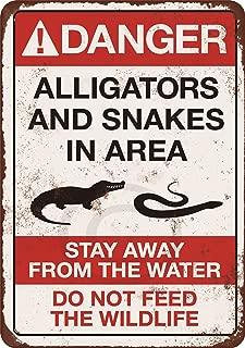 Custom Kraze Danger Alligators and Snakes Vintage Reproduction Metal Sign 8 x 12