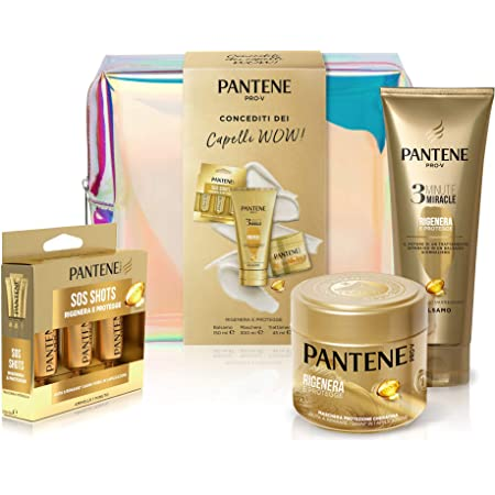 Pantene Pro-V Rigenera&Protegge Set Regalo per Capelli: 1 x Balsamo 3 Minute Miracle (150 ml), 1 x Maschera Protezione Cheratina (300 ml), 3 x Ampolle Sos Shots (3 x 15 ml)