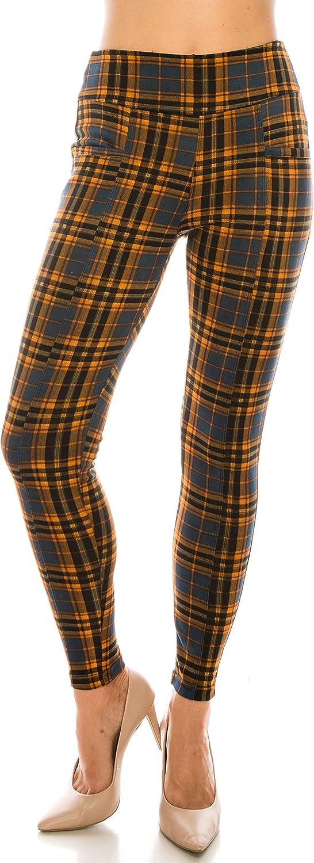 LA12ST Women Plaid Print Pants Elastic Waist Soft Printed Fashion Leggings Trouser Stretch Skinny Pants Zippers