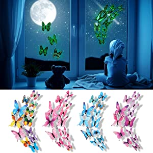 Luminous Butterfly Decals, Glow in The Dark 3D Butterfly Stickers for Ceiling Wall Decor DIY Adhesive Butterflies for Bedroom Living Room (Colorful, Blue,24 Pieces)