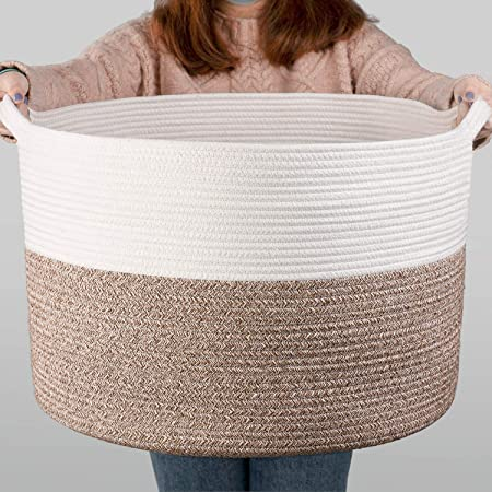 "INDRESSME XXXLarge Cotton Rope Basket 21.7"" x 21.7"" x 13.8"" Woven Baby Laundry Blanket Basket Toy Basket with Handle Storage Comforter Cushions Thread Laundry Hamper"