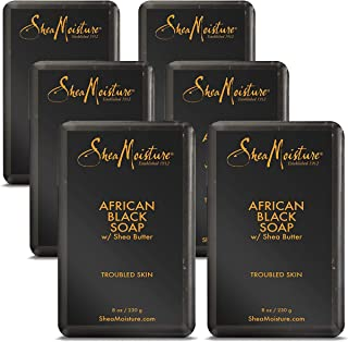 Shea Moisture African Black Soap With Shea Butter 8 oz (Pack of 6)