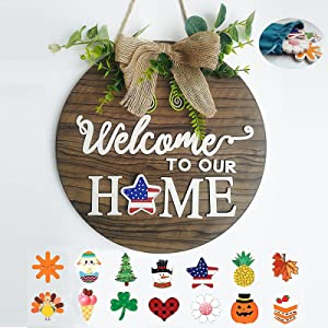 Interchangeable Welcome Sign Front Door Decor, Welcome to Our Home Burlap Bow with 14 Seasonal Ornament for Housewarming Gifts,Christmas, Easter, Holiday Decor, 11.8