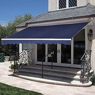 MCombo 12x10 Feet Manual Retractable Patio Door Window Awning Sunshade Shelter Outdoor Canopy (Dark Blue)