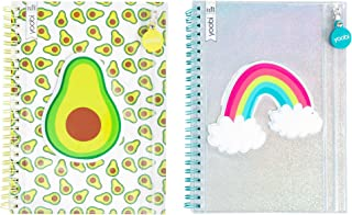 Yoobi College-Ruled Spiral Notebooks with Pencil Zipper Pouches | Fun Green Avacado Print | Cute Rainbow Glitter | 2-Pack | 60 Sheets