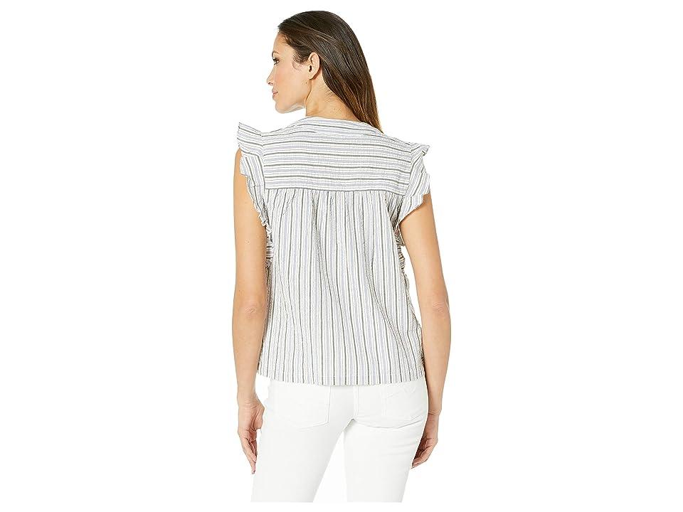 Lilla P Short Sleeve Yarn-Dye Stripe Tie Top (Stripe) Women's Blouse, Multi
