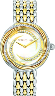 Cerruti 1881 Rieti Analogue Silver And Gold Plated Case, White Mop Dial And Silver And Gold Plated Watch For Women - CRM15906