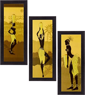 eCraftIndia Satin Matt Textured Synthetic Wood Art Painting (18 cm x 41 cm, Set of 3, C3FPB2114)