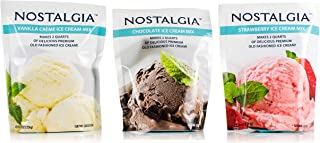Nostalgia Ice Cream Mix. Set of 3 - Vanilla, Chocolate and Strawberry. Each Pocket of 8 Oz Makes 2 Quarts of Delicious Premium Old Fashioned Ice Cream!
