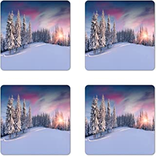 Ambesonne Winter Coaster Set of 4, Idyllic Panorama of Winter Sunrise in Snow Covered Mountains Serenity Freshness, Square Hardboard Gloss Coasters, Standard Size, Pastel Lavender