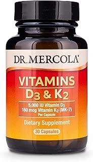 Dr. Mercola, Vitamins D3 & K2, 30 Servings (30 Capsules), non GMO, Soy-Free, Gluten Free