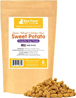 Raw Paws USA Natural Sweet Potato Dog Treats - Healthy, Vegan, Vegetarian, Grain Free, Low Calorie, Low Protein, Mini, Dried, Crunchy Dog Treats Great for Puppy Training & Small to Large Dogs