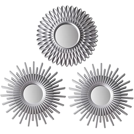 Wall Mirrors Pack of 3 - BONNYCO | Silver Mirrors for Living Room, Home Decor & Bedroom | Round Mirrors for Hanging and Wall Decor | Small Mirrors, Shabby Chic Home Accessories | Gifts for Women, Mums