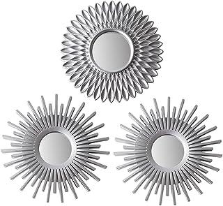 BONNYCO Espejos Pared Decorativos Plateados Pack 3 Espejos Decorativos Ideales para Decoracion Casa Habitación y Salón   ...