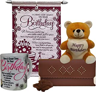 Saugat Traders Orange Canvas Women's Wallet & Coffee Mug, Birthday Scroll Card, Teddy Combo set (ST0002063)