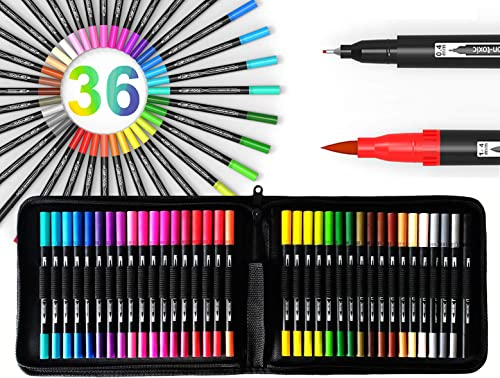TOOLI-ART 36 Dual Tip Brush Pens Art Markers Set Flexible Brush and 0.4mm Fineliner With Case - Coloring Journaling L...