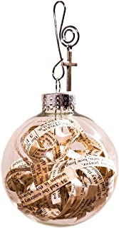 Best Rescued Antique Bible Pages Glass Globe Hanging Ornament Cross and Faith Quote Card by Dorinta. Review