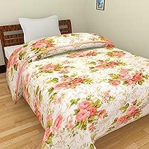 Home Spaces Red Flora Printl Ac Single Microfiber Blanket/Dohar (54 X 84 Inches, Multicolor,Set of 1)