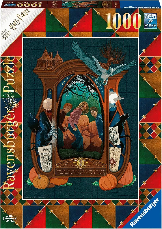 Ravensburger Puzzle Harry Potter Book Edition - El prisionero de Azkaban, Puzzle 1000 piezas, Colección Fantasy, Ilustraciones de Minalima, Rompecabezas Ravensburger de óptima calidad