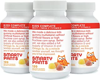SmartyPants Children's Gummy Multivitamin with Omega-3 and Vitamin-D, 3-Count (Pack of 3)