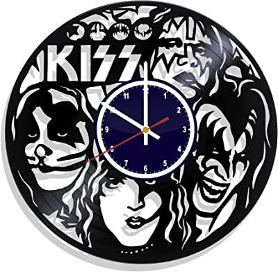 Wall clock Kiss made from real vinyl record, Kiss music wall poster, best gift