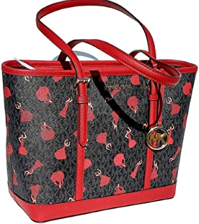 MICHAEL Michael Kors BARCELONA Leather Gallery Tote Bag LIMITED EDITION Black & Red