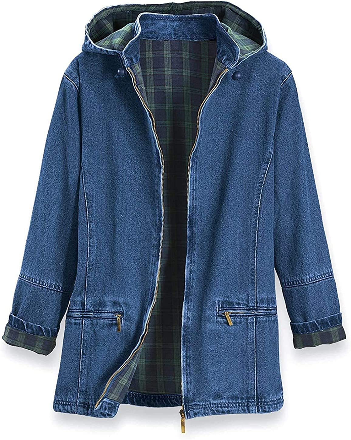 PGI Traders security Women's Flannel Jacket Denim Detachable Easy-to-use Lined