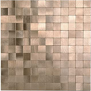 Decopus Copper Metal Tile Backsplash Peel and Stick (MS25 Copper Matte 5pc/Pack 12 x12'', 0.16'' Thick), Self Adhesive Tile for Kitchen Wall Bathroom, Table Tops, Wall Accent