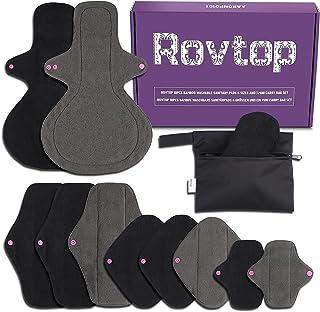 Rovtop 10PCS Ensemble de serviettes hygiéniques lavables, Protège-slips menstruels pour filles / femmes, Avec couches d'ab...