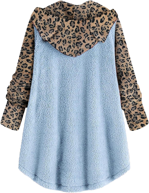 Women Long Sleeve Furry Coats Leopard Hooded Buttoned Jacket Thicken Warm Mid-Long Outwear Casual Lightweight
