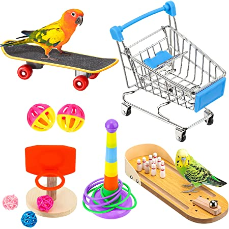 10 Pieces Bird Training Toys Parrot Training Toys Include Bowling Toy Basketball Toy Rings Shopping Cart Skateboard Bell Ball Parrot Intelligence Toys for Parakeet Cockatiel Macaw Parrot, Random Color