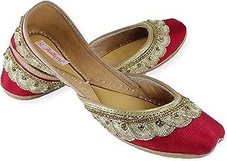 Fulkari Women's Soft Leather Bite and Pinch Free Phulkari Payal Embroidered Comfortable Formal Wear Jutis Ethnic Flat Shoes