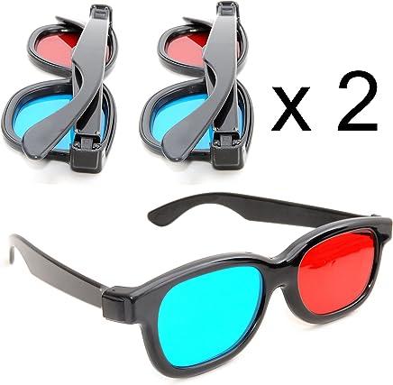 5bb25d1285 Juego de 2 Gafas 3D anaglíficas (para TV o PC de Juegos (Rojo/
