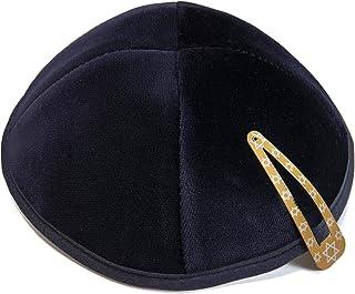 Negro Kip/á 20cm tama/ño Jud/ía Terciopelo Redondo Kipa Yarmulke Cubierta de la cabeza ISRAEL para synagogue