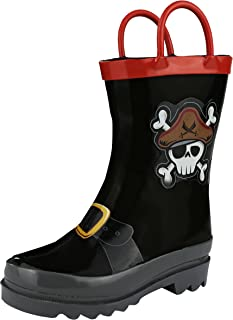 Boys Pirate Printed Waterproof Easy-On Rubber Rain Boots - Toddler & Little Kids