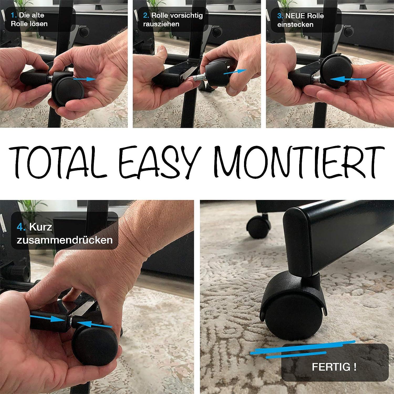 Stift /ø11mm buySMILE 5er-Set B/ÜROSTUHL Rollen /ø50 mm passend zu 90/% Aller B/ürostuhlmarken B/ürostuhlrollen f/ür Nutzung auf TEPPICHBODEN